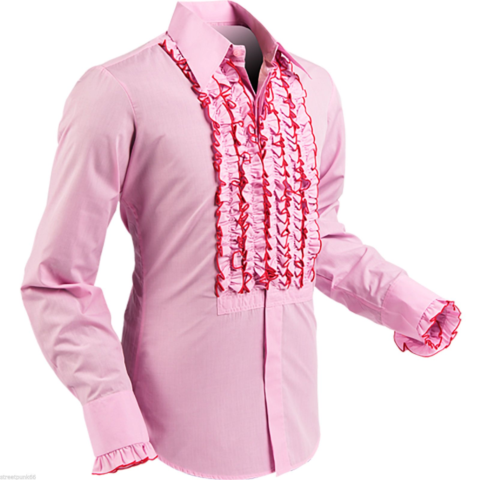 Mens Retro Ruche Rose Pink Ruffle Tuxedo Shirt Tux Frill Dinner Party
